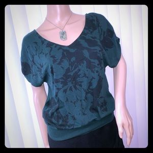 Express Blouse Green Black Floral Knit XS Career